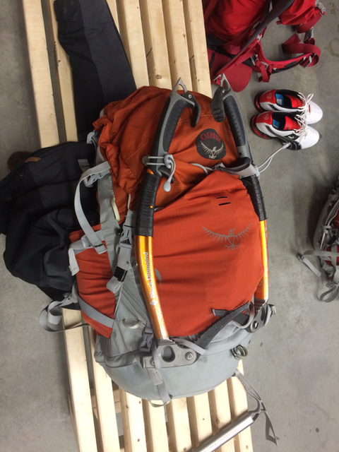 Ice tools strapped to my pack